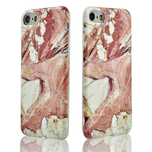 iPhone 6 Hülle,iPhone 6S Marmor Case,Sunroyal Kreative Stylish Schickes Retro Elegant Rot Rosa Silikon Handyhülle Weiß Stein Glamour Ultradünn Marble Malerei Muster Schlank TPU Bumper Gläzende HandyTa Pattern 25