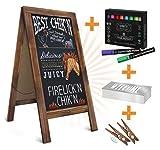 HBCY Creations Rustikale Magnetic A-Frame Tafel Deluxe Set / 8 Chalk Marker + 10 Stencils + 2 Magnete! Außen Gehweg Tafel Zeichen/Large 40