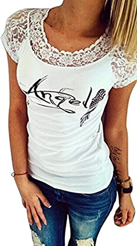 Imixcity® Femmes Angel Wings Tops Dentelle T-Shirt Sexy Gland Backless-Top Décontracté (S=34, Blanc)