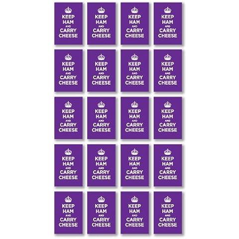 Confezione di Adesivi in Vinile lucido: Il prosciutto Carry formaggio lilla lavanda KEEP CALM WW2WWII parodia cartello (20adesivi, 4,5x 3/1,8x 1.2in)