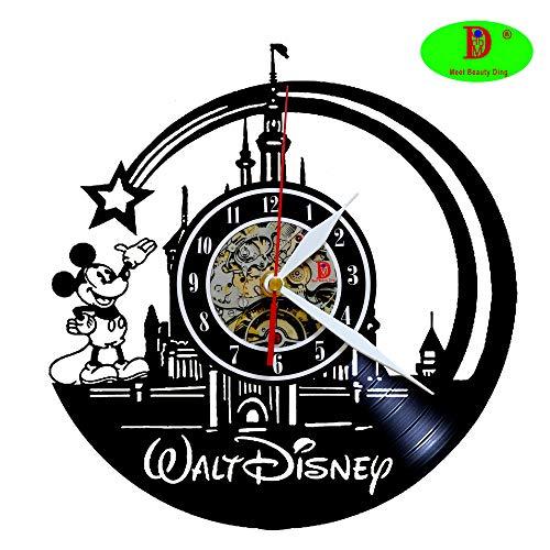 Wanduhr mit Disney-Motiv Micky Maus aus Vinyl, kreatives Kinderzimmerdekoration, einzigartiges handgefertigtes Geschenk für Jungen Mädchen Halloween Weihnachten und Geburtstag (30,5 cm, schwarz)