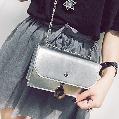 Helle Sidepack Art und Weise Kleine Quadratische Tasche Freizeitschulterbeutel Einfache Kette Messenger Tasche Silber