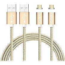 Cable USB Magnético,EVIISO Cable con imán magnético para cargador Micro USB Carga Rápida y Sincronización Datos con LED Indicator Para Samsung Galaxy S7 Edge / S7 / S6 Edge / S4 / S3 / Note 5 / 4,HTC,LG, Android [1m 2.4A](2 Paquete Oro)