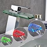 Auralum LED RGB 3 Farbewechsel Glass Wasserhahn Chrom Wasserfall Waschtischarmatur Armatur für Bad...