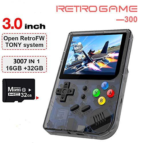 Handheld Spielkonsole , RG300 Retro Spielkonsole OpenDingux Tony System , Free with 32G TF Card Built-in 3007 Klassische Spielkonsole, 3 Zoll HD Bildschirm Portable Spielkonsole - Transparente Schwarz