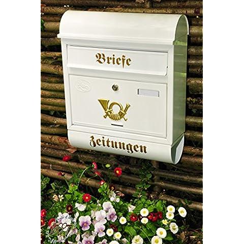Nuovo formidabile cassetta delle lettere, qualità premium, zincato, polverizzato R/W grande in Edelweiss Bianco candido giornali Post antico Mailbox scudo