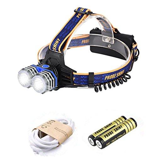 opflampe, Hansee Scheinwerfer von Sonde glänzend, 10000LM 2 x XML T6 Scheinwerfer Scheinwerfer Taschenlampe Kopf Taschenlampe S Batteries Included