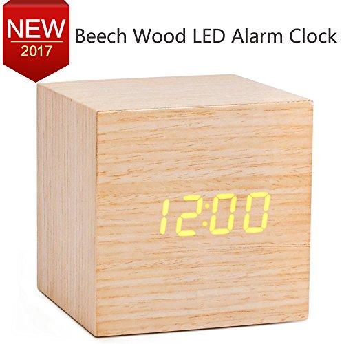 Würfel LED Digitale Wecker Modern Holz Wecker Tischuhr mit Datum/Woche/Temperatur Anzeige, 12/24 Stunde, Sound Control Schreibtisch Wecker für Heim und Büro, Alarm Clock mit USB Kabel mit Orange LED
