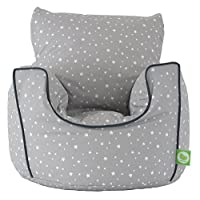 Cotton Grey Stars Bean Bag Arm Chair with Beans Child size