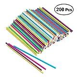 BESTONZON 200 unids Colorful Paper Lollipop Sticks Cake Pop Sticks Favor Suministros para Proyecto de Decoración del Arte 15 cm x 3.5 mm