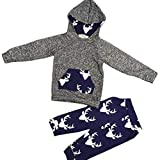 Qiusa per 0-3 Anni Baby Set di Vestiti, Toddler Boy Outfit Abbigliamento Deer Hooded Tops Jacket + Pants Outfitst Set (Colore : Grigio, Dimensione : 3T)