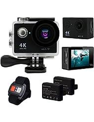 Besty Original 4K WiFi Actioncam Action Kamera 12MP 2 Zoll Full HD 1080P 170 °Weitwinkel-Objektiv Wasserdichte Waterproof Sportkamera Mini DV Sports Camera Camcorder mit Fernbedienung und 2 Stück Akkus Schwarz