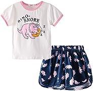 LZH Pigiama per Bambina Unicorn Flamingo Pjs Set Tuta da Notte Estiva per Bambini Manica Corta Taglia 4-12