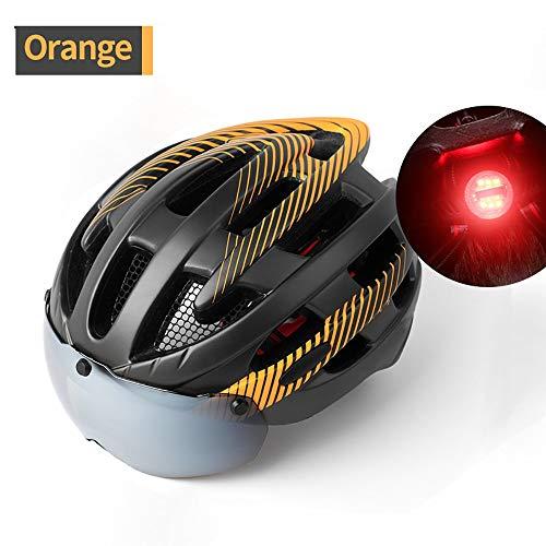 YAJAN-helmet Herren Damen Erwachsene Fahrradhelm,CE-Zertifizierung mit LED-Rücklicht Fahrrad Zyklus Helm Magnetischer Visier-Schutzbrille Fahrradhelm Passend für Nachtfahrt
