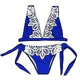 CixNy Damen Badeanzug Bikini Sets Bikinioberteil Bademode BH Tankinis Sommer Frauen Lace Swimwear Bikinis (Blau, X-Large)