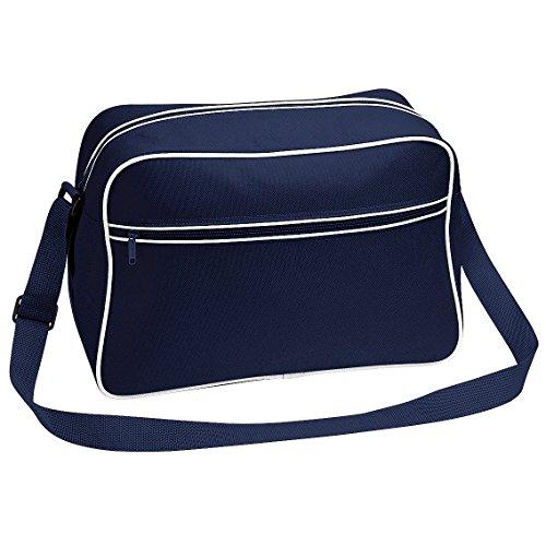 Bagbase - Borsa a tracolla stile retrò - 18 Litri Blu navy/Bianco