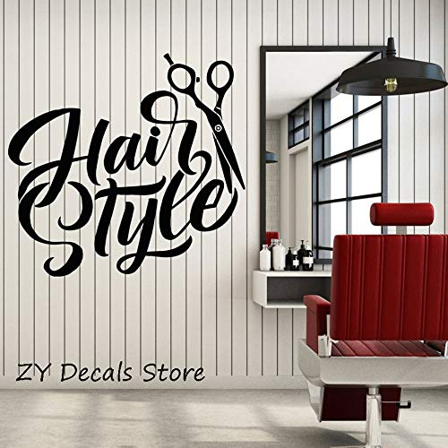 zxddzl Frisur Schere Wand Fenster Aufkleber Friseursalon Haarschnitt Zeichen Aufkleber wasserdichte Reine Farbe Vinyl Wandkunst Aufkleber 45X42 cm (Home Interior Rahmen, Dekorationen)