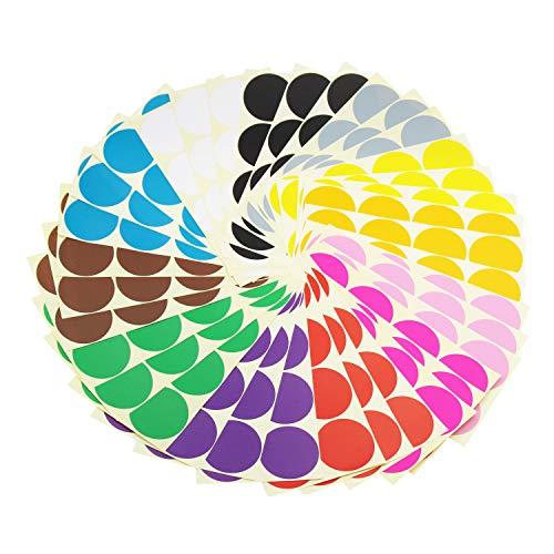 Klebrige Farbkennzeichnungsetiketten Abnehmbare kleine Kreis-Punkt-Aufkleber für Klassenzimmer Organisation Dekorationen Kalender Planer, 50 mm Durchmesser, 12 Farben, insgesamt 288 Punkte in 36 Blatt (Kleinen Kreis Anzahl Aufkleber)