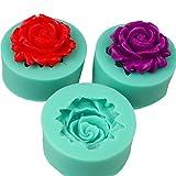 3 pezzi Set stampi in silicone a forma di rosa, stampi per biscotti, paste dolci, marzapane, decorazione torta, forno