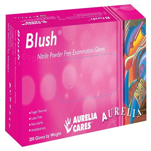 Galleria fotografica Supermax 78886Aurelia Blush Guanti in nitrile, senza polvere, Piccoli, Rosa, Confezione da 200