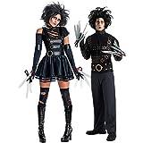 Fancy Me Paar Kostüm Mr & Mrs Edward mit den Scherenhänden Halloween Party Verkleidung Outfit - Schwarz, Ladies UK 16-18 Mens STD