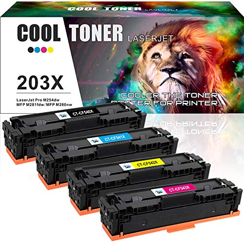Cool Toner 4 Pack Compatible for HP 203X CF540X CF541X-CF543X HP 203 203A  CF540A Toner Cartridge for HP Color LaserJet Pro MFP M281fdw M281fdn M254dw