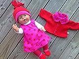 Puppenkleidung handmade Winterset für Baby Born little Chou Krümel Muffin Puppen Gr. 43 cm STERNE pink & rot mit /oder ohne Jacke