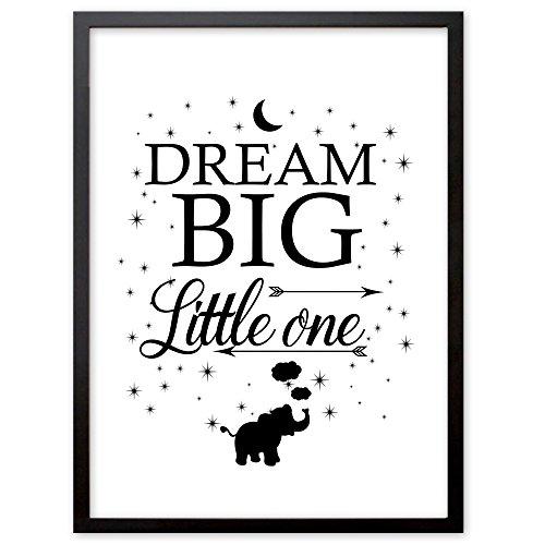 """Kinderzimmer Kunstdruck, Poster mit Spruch """"Dream Big little One"""", Deko Bild Print Plakat DINA4, Ideal auch als Geschenk"""