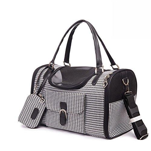 B-JOY Borsa trasportino finto coccodrillo modello cane gatto con portafoglio sportello superiore e borsa porticina laterale Bianco