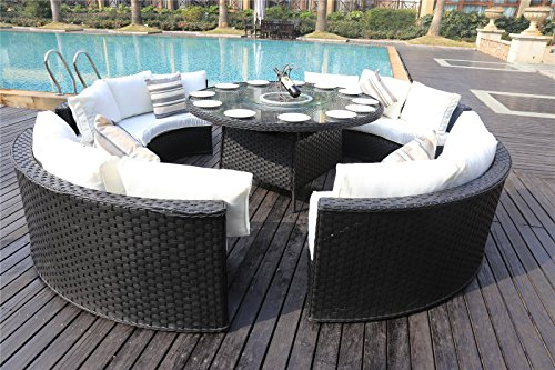 yakoe monaco 10 seater round rattan outdoor patio garden furniture dining table sofa set