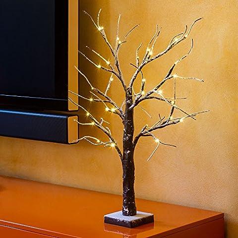 Branche décorée d'intérieure, Mini arbre marron avec neige, à piles,