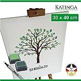 KATINGA Leinwand zur Hochzeit -Motiv Baum - als Gästebuch für Fingerabdrücke (30x40)