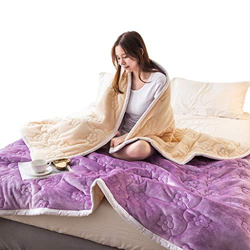 Max Home Coral Fleece Double Layer verdicken Steppdecke für Schlafzimmer Wohnzimmer Einzelne/doppelte Lila Decke (größe : 200X230cm) -