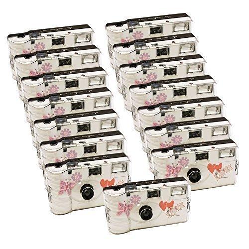 15x PHOTO PORST Hochzeitskamera mit Schmetterling / Einwegkamera / Partykamera (je 27 Fotos, mit Blitz, 15-er Pack)