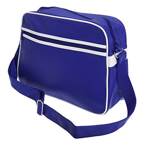 Bagbase - Original Retro - Borsa Messenger Stile Vintage Blu navy/Bianco