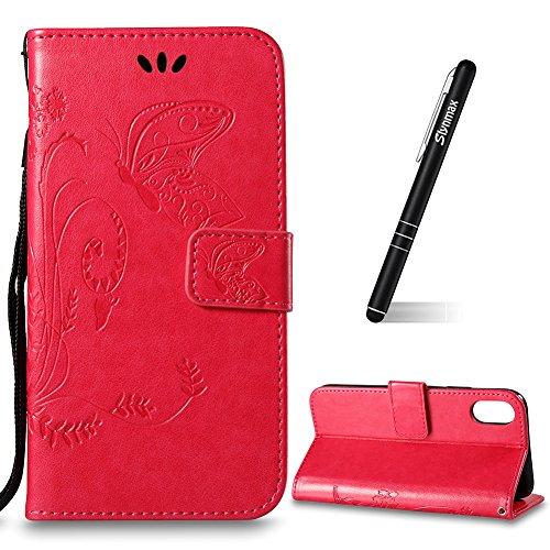 Custodia Per iPhone X, Slynmax Custodia Portafoglio [Cinturino da polso] [Chiusura Magnetica] [Funzione Stand] Modelli A Farfalla in Pelle Stampata in Pelle Con Custodia Di Protezione Completa Con Slo Rose Rosso