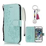 KM-Panda Housse Coque Apple iPhone 7 Plus 8 Plus Cuir PU Wallet Cover TPU Silicone Étui Portefeuille Flip Case - Pissenlit Bleu