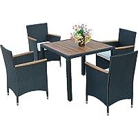 HG® 4+1 muebles de jardín Poliratán Mesa de comedor Mobiliario Silla Mesa mimbre Jardín Juego Negro Terraza Patio Aluminio Playa Relax Sintético