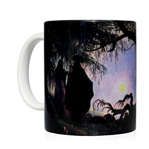 Tasse Mug petit-déjeuner en céramique blanche 32 cl. avec œuvre d'art imprimée Homme et femme contemplant la Lune, auteur Caspar David Friedrich