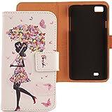 Lankashi PU Flip Funda De Carcasa Cuero Case Cover Piel Para ZOPO C2 ZP980 ZP980+ Umbrella Girl Design