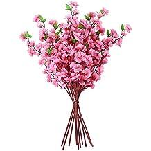 6 Ramos de Artificiales Flores de Decoración de Casa Oficina de Color Rosa