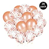 Set de globos de confeti de 12 pulgadas de Phogary, incluidos 20 globos de confeti de oro rosa prellenos y 6 globos de látex para decoraciones de fiesta
