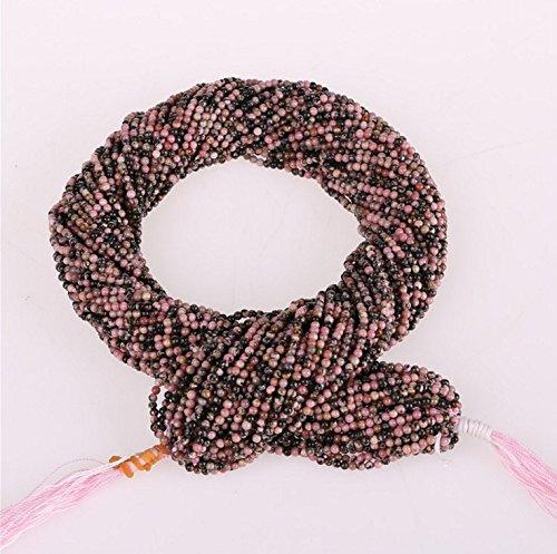 jennysun2010rotonda, pietre naturali, perline, 2mm, 3mm, lunghezza 15,5cm (38.5cm) 1Strand per borsa per braccialetto collana orecchini gioielli artigianato design guarigione, Black Line Rhodochrosite, 3 mm