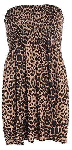 Fashion moins 4 pour femme Imprimé Sheering Plus longue bustier robe Haut débardeur 20 22 Multicolore - Léopard