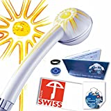 Duschkopf für Durchlauferhitzer SOLEIL: kräftiger Strahl, verkalkungsfrei, hygienisch, Schweizer Produktion, 1 Regler für 2 Durchflussmengen 8-11 Liter pro Minute (statt ungeregelt ca. 16 l)
