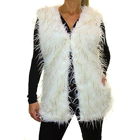 ICE (5143-2) Vest Faux Fur e Piume di Struzzo Crema - Faux Struzzo