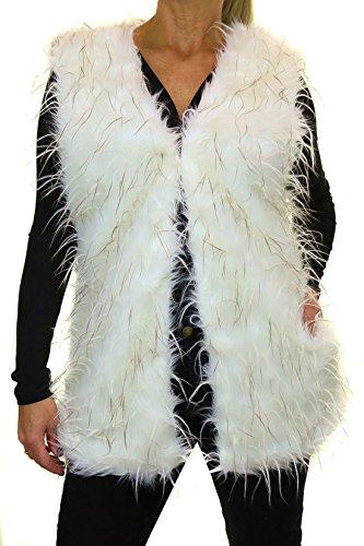ICE (5143-2) Vest Faux Fur e Piume di Struzzo Crema (42/46) - Faux Struzzo