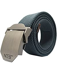 Meta-U- Canvas Belt- Web Belt- Military Style- Zinc Alloy Buckle- Easy Adjustment- Sturdy and Versatile- for Jeans | Chinos | Weekday Suits- 1 Pcs