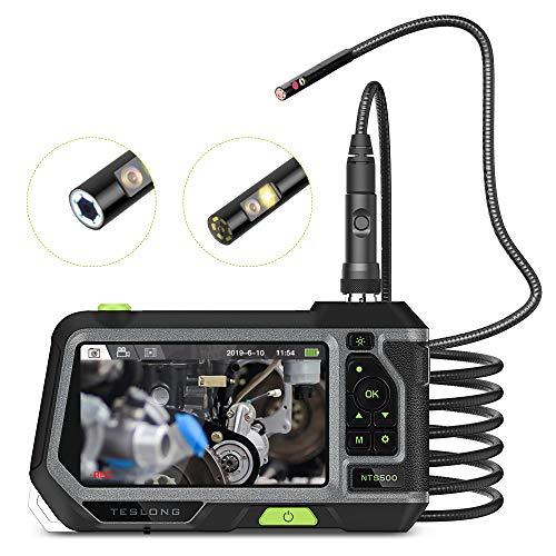 Teslong Zwei Linsen Industrielles Endoskop Kamera Mit 5 -Zoll -Farb-LCD-Bildschirm,IP67 wasserdichte 5.5mm Durchmesser 1080HD Inspektionskamera Sonde mit 6 Einstellbare LED-Leuchten (3 Meter Langer)