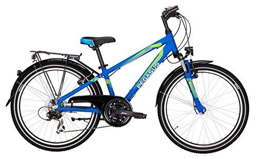 Pegasus Kinderfahrrad 24 Zoll blau Avanti boy Jungenrad - Shimano Schaltung 21 Gänge, Licht, Gepäckträger
